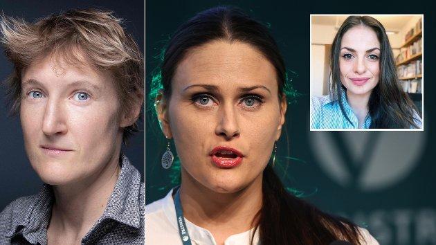 NO-PLATFORMING: – Jeg må le, når jeg ser politikere som Ingvild Thorsvik (i midten) eller aktivister som Alice Coffin (t.v). Når politikere, aktivister, debattanter og journalister stjeler vår rett til å ha et perspektiv, frarøver de oss også demokratiet, skriver Sophie Matlary (t.h).