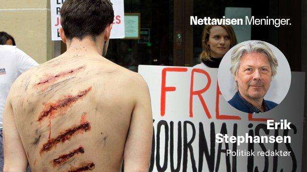Reportere uten grenser bruker sterke virkemidler for å rette oppmerksomhet mot fengslede iranske journalister foran kontoret til Iran Air i Paris.