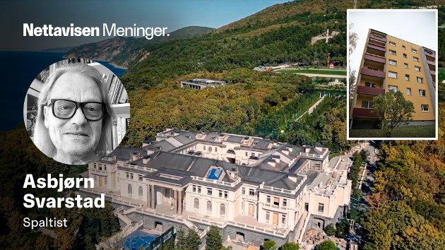 Luksuspalasset, som angivelig tilhører president Vladimir Putin, er på hele 17.691 kvadratmeter. Øverst i venstre hjørne er et tilhørende drivhus på 2500 kvadratmeter. Hele eiendommen skal være 39 ganger større enn fyrstedømmet Monaco. Innfelt er blokka Putin bodde i mens han var utstasjonert i Dresden.
