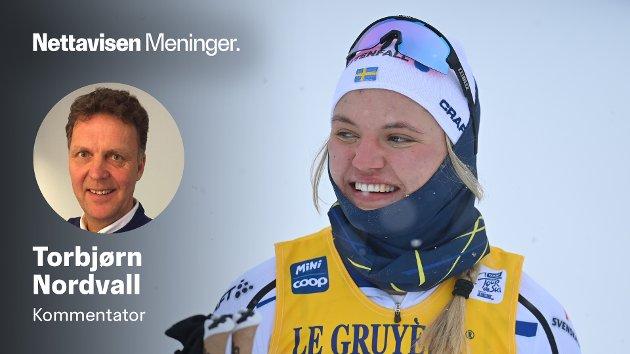 Linn Svahn smiler godt etter å ha sikret seg sprintseieren i  sveitsiske Tschierv under årets Tour de Ski.