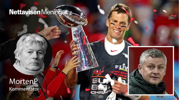 VINNERE: Tom Brady, Tampa Bay Buccaneers quarterback, med det synlige NFL-trofeet i hendene. Trofeer er det ønsket at også Ole Gunnar Solskjær skal skaffe Manchester United og Glazer-familien.
