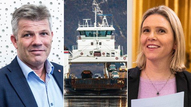 Bjørnar Skjæran (Ap) og Frps Sylvi Listhaugs forslag om halverte fergepriser - eller gratis ferge - vil koste Norge mellom 1,5 til 3 milliarder kroner årlig.