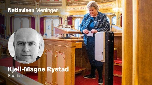 «Erna Solberg styrer ikke bare Norge gjennom koronakrisen med stødig hånd. Hun har også lagt en hånd om klimapolitikken som passer utmerket for Høyre-velgerne. Med grønne avgifter legges grunnen for grønt skifte, samtidig som avgiftsinntektene gir grunnlag for reduksjon i inntekts- og formueskatten», skriver Kjell-Magne Rystad.