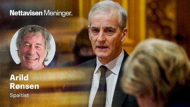 Jonas Gahr Støre og Erna Solberg under en muntlig spørretime i Stortinget i januar i år.