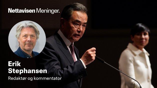 Den kinesiske utenriksministeren Wang Yi bruker makten sin overfor kollega Ine Eriksen Søreide.