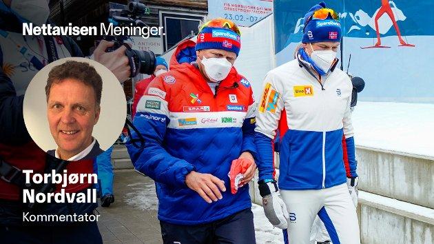 Johannes Høsflot Klæbo og Espen Bjervig etter målgang på 50 km langrenn klassisk for menn under VM på ski i Oberstdorf.