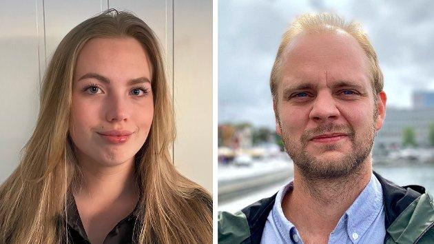 Bilde av debattforfatter og lektorstudent Anine Norén og Rødt-politiker Mímir Kristjánsson.