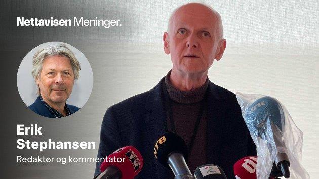 Smitterverndirektør Geir Bukholm hadde flere dårlige nyheter om AstraZeneca-vaksinen på pressekonferansen.