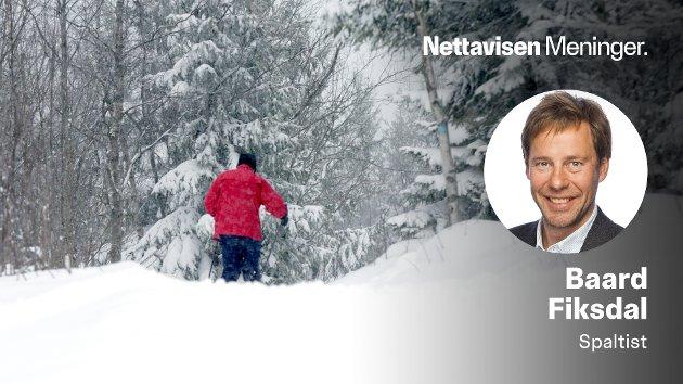 For tiden går jeg mye på ski. Jeg kan ikke huske at jeg før gikk rundt og var redd for mangel på styresnø i Norge. Men det er jeg nå, skriver Baard Fiksdal, som er ganske sikker på at han har passert middagshøyden.
