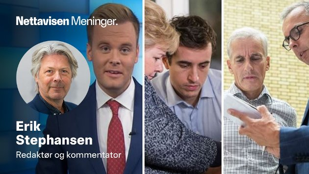 SJEFER OG TJENERE: Fra venstre Cato Husabø Fossen, Erna Solberg, Peder Egseth (H) og Jonas Gahr Støre, Jarle Roheim Håkonsen (Ap).