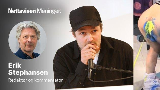 Skuespiller og regissør Vegard Vinge mottar kritikerprisen for Gengangere (til venstre) og spruter maling ut av rumpa (til høyre).