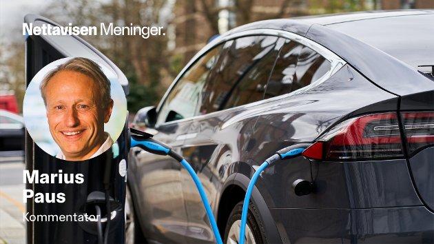 – Det er først nå elbilene har blitt tilgjengelige i alle prisklasser og størrelser. Vi synes det vil være uheldig av fordelingshensyn å kutte i avgiftslettelsene på nåværende tidspunkt. De med best råd har allerede kjøpt elbil, skriver Marius Paus.