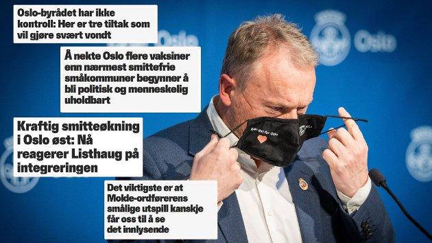 Opposisjonen i Oslo byråd burde rette kritikken mot håndteringen av pandemien, ikke bare mot riksaviser og distriktskommuner, skriver debattforfatteren.