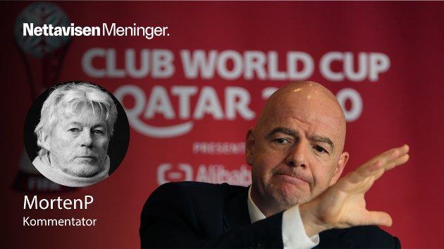 FIFA-sjef Gianni Infinatino er klar for VM i Qatar. Her i forbindelse med klubb-VM som ble arrangert i oljestaten i februar i år.