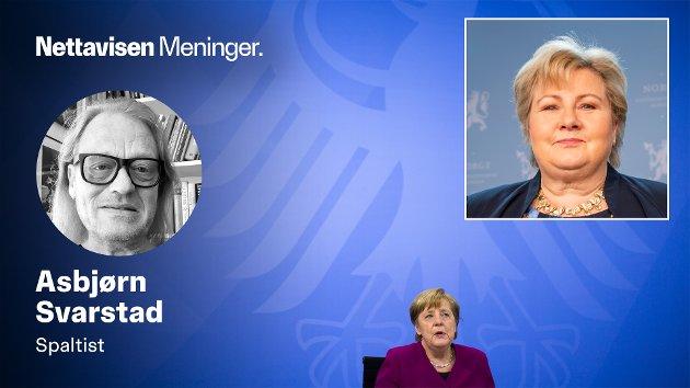 Om Erna Solberg for tida skulle tenke at hun bærer på en tung bør, så kan hun kaste et blikk på sin tyske kollega og trekke et lettelsens sukk. For er det noen som bærer staur om dagen, så er det Merkel, skriver Asbjørn Svarstad.