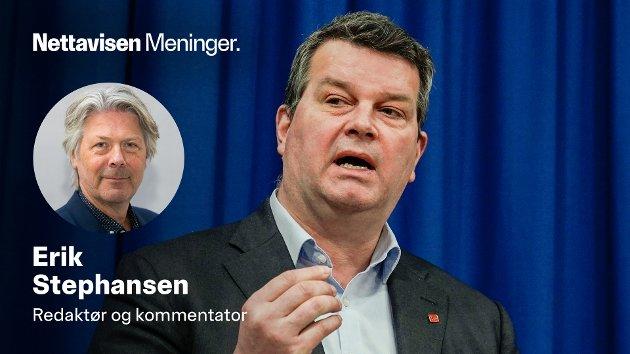 LO-leder Hans-Christian Gabrielsen var aktiv på flere fronter. Her presenterer han lokale kananteneregler for kommunene i fjor.