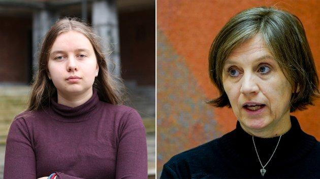 Kjersti Toppe (t.h) svarer på debattinnlegget til Benedikte Møller-Stray (t.v) fra 24. mars.