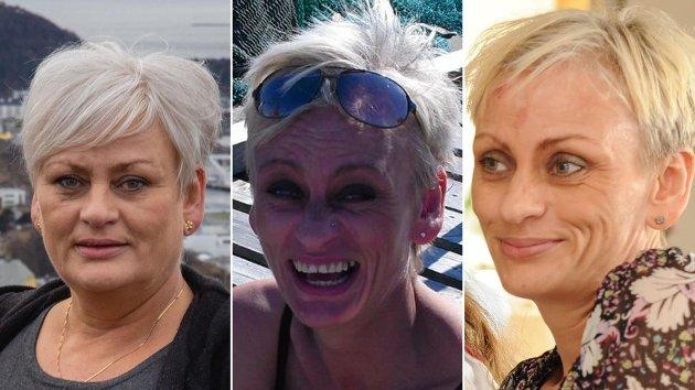 Jeg ville ikke vært i live i dag uten den daglige kontakten med overdoseteamet - den gang jeg vandret gatelangs i Trondheim, psykotisk og fortapt, skriver debattforfatteren.  Til venstre er et nylig foto av debattforfatteren. De to andre bildene er fra tiden da hun slet med rusavhengighet.
