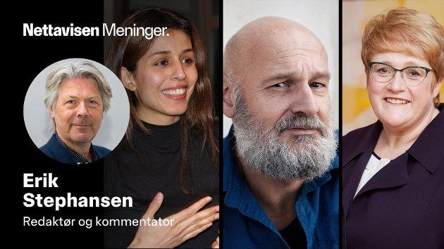 Lege Mina Adampour, forfatter Erlend Loe og tidligere Venstre-leder Trine Skei Grande skal diskutere rasisme i barnebøker. Montasje: Deichman