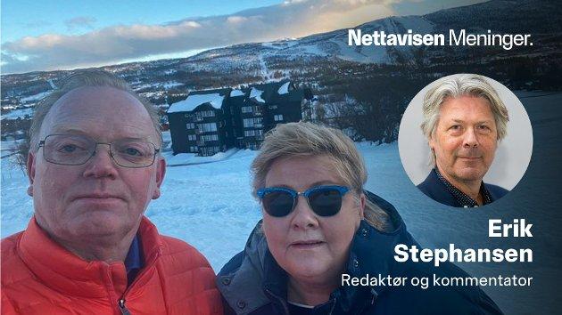 Statsminister Erna Solberg (t.h) og hennes ektemann Sindre Finnes i et historisk selfie-øyeblikk. Nå kan hendelsene på Geilo få konsekvenser for alle polikere.