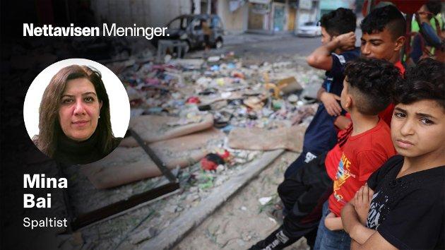 – Hvor er bildet av den 16 årige arabisk-israelske Nadin Awad, som ble drept sammen med faren hennes, Khalid, i rakettangrepene fra Hamas?spør Mina Bai. (Illustrasjonsfoto fra Gaza).