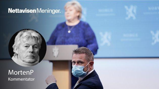 – Så mye for dugnaden og alle som bare lar det skure å gå, mens sannhetsministernes «korona-propaganda» legger en orwellsk sky over gjenåpningen av landet, skriver MortenP. (Illustrasjonsfoto av Erna Solberg og Bent Høie).