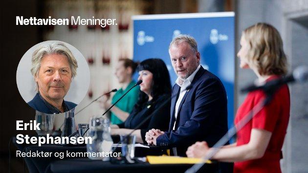 Ingen grunn til jubel etter pressekonferansen med byrådsleder Raymond Johansen (Ap) og resten av Oslo-byrådet i dag.