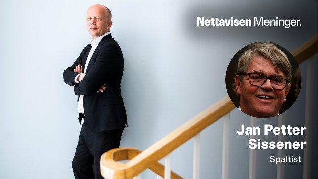– Trygve Slagsvold Vedum bør snarest invitere Erna Solberg på date, gå ned på kne og be om et regjeringsekteskap mellom Høyre og Sp. Åpner vi for flerkoneri her i landet, bør han også vurdere å gå til sengs med Sylvi Listhaug, skriver Jan Petter Sissener.