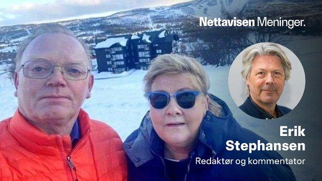 Ektemann Sindre Finnes fyrer av årets mest berømte selfie av seg selv og Erna Solberg på Geilo.
