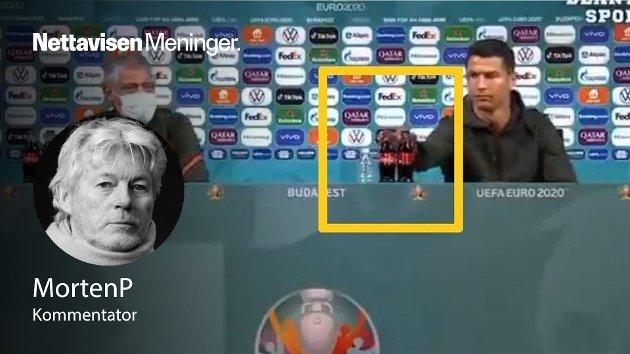 Cristiano Ronaldo flyttet vekk Coca Cola-flaskene på pressekonferansen før tirsdagens møte med Ungarn i EM. Handlingen forklarer veldig mye, mener MortenP.