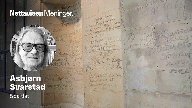 KRIGSMINNER I FORBUNDSDAGEN: Overlevende rødegardister - som regel helt unge menn som var sjeleglade for å ha overlevd den brutale krigen - dekorerte veggene inne i Riksdagen - i dag kalt Forbundsdagen, skriver Asbjørn Svarstad.