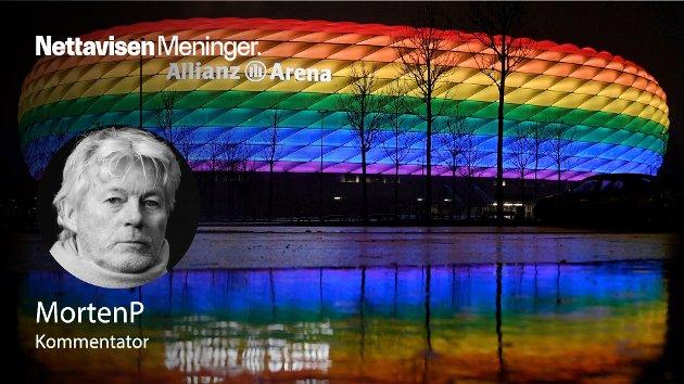 KOKER I SOSIALE MEDIER: – Etter at byen München har fått nei på forespørselen om å kle Allianz Arena i regnbuens farger før kveldens kamp mot Ungarn, har det utviklet seg til en menneskerettighets-skandale, skriver MortenP.