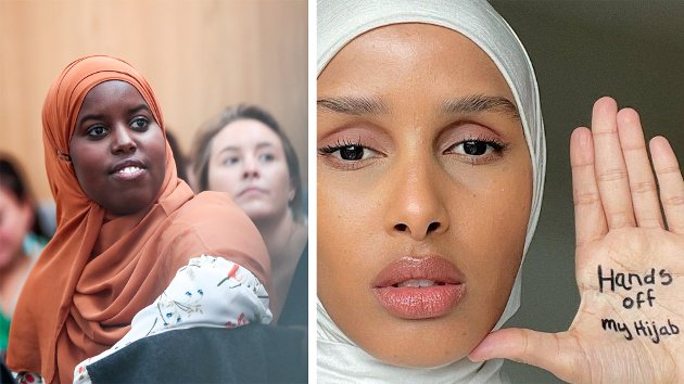 Det feministisk tidsskriftet FETT og motemagasinet Vouge har fått nye redaktører, hvor begge kvinnene bruker hijab. Det er problematisk, mener Anne Grenersen, journalist i Avisa Nordland. (På bildet: Sumaya Jirde Ali, forfatter og redaktør i FETT og Rawdah Mohamed, modell og redaktør i Vouge).