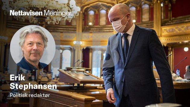 Senterpartileder Trygve Slagsvold Vedum holder masken foran valget og  landsmøtet som begynner i dag.