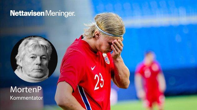 – Å slå inn kritikken med slegge er ikke noe poeng, skriver MortenP. Bildet viser Erling Braut Haaland under privatlandskampen mellom Norge og Hellas på La Rosaleda Stadion i Malaga.