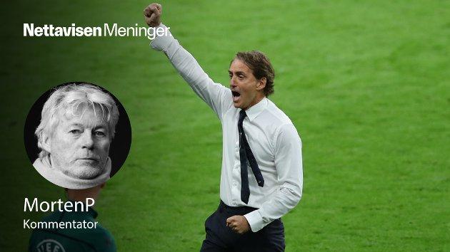 – Det er noe med Italias kraft og evne til å forsvare seg som en kollektiv enhet når ingenting annet fungerer, skriver MortenP. Bildet viser Italias trener  Roberto Mancini.