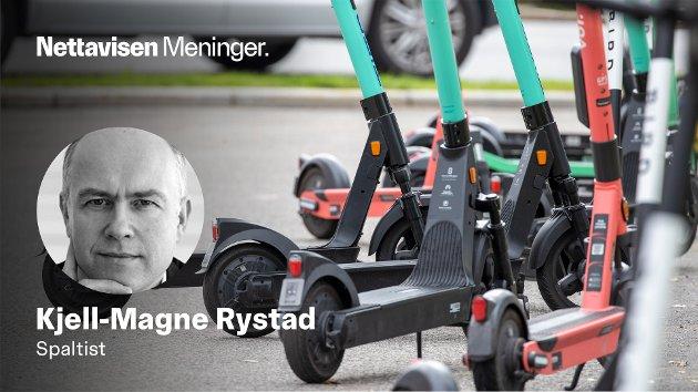 – Det er ingen tvil om at elsparkesykler, i alle fall slik det fungerer nå, er svært farlig, skriver Kjell-Magne Rystad.