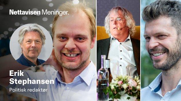 Både Rødt-politikerne Mímir Kristjánsson, Bjørnar Moxnes og forfatter-jubilant Dag Solstad (i midten) liker å kokettere med at de er kommunister - helst sent på kvelden.