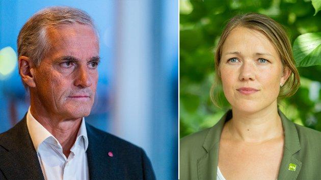 Partilederne Une Bastholm (MDG) og Jonas Gahr Støre (Arbeiderpartiet).
