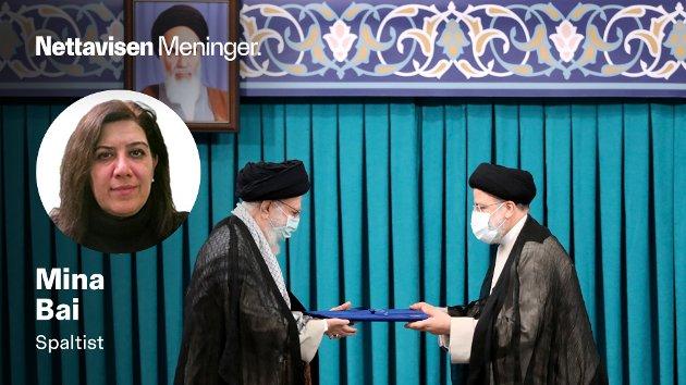 MAKTHAVERNE: I dag ble Ebrahim Raisi (t.h.) offisielt innsatt som president av landets øverste og suverene leder Ayatollah Ali Khamenei. Disse to bryr seg lite om at folket protesterer over både vannmangel, tørke og effekten av globale anksjoner rettet mot Iran, skriver Mina Bai.