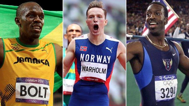 TRE STORHETER: Usain Bolt, Karsten Warholm og Michael Johnson. Tre navn som står spikret i de historiske idrettsbøkene for evig.