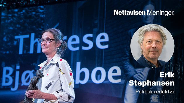 Therese Bjørneboe rykket ut til forsvar for påstander om trusler på grunn av Sløseriombudsmannen, men brukte ikke selv «fasiten» for hva som ga et riktig bilde av en sak i Konfliktrådet. Her fra da hun fikk æresprisen under Hedda-utdelingen i 2018.
