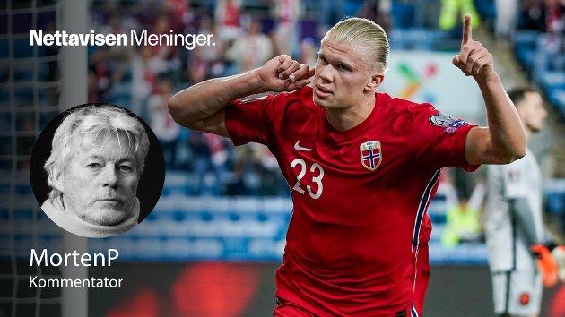 MÅLMASKIN: Erling Braut Haaland, som scorte Norges eneste mål i kampen, viste klasse og hva Norge kan bli under Ståle Solbakken, skriver MortenP.