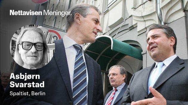 RÅD: Gode råd til tyske sosialdemokrater. Da Jonas Gahr Støre for 13 år siden var i Berlin for å fortelle den daværende SPD-lederen Sigmar Gabriel om koalisjonsbygging.