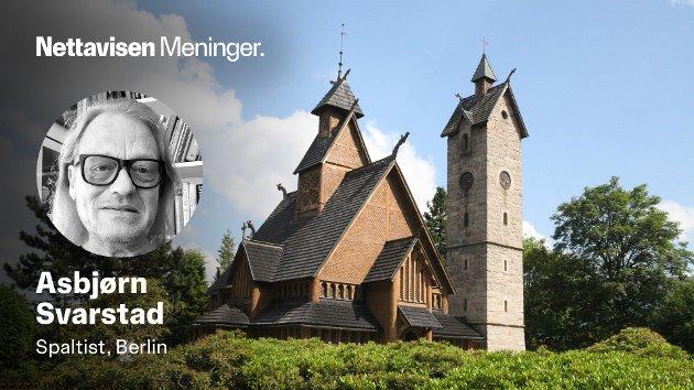 ARKITETONISK HYBRID: Vang Kirke har flere karakteristiske trekk fra en norsk stavkirke, men tilleggsbygget er mer utradisjonelt.