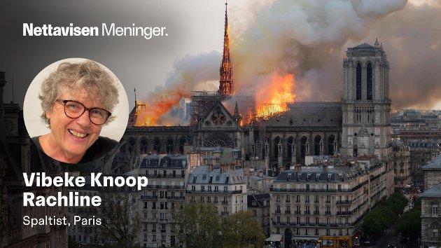 «:FRANKRIKES SJEL» I BRANN: Flammene herjer Notre-Dame 15. april 2019.