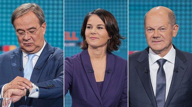 KLØNETE KANSLER-KANDIDATER: Sosialdemokratenes Olaf Scholz (t.h), De Grønnes Annalena Baerbock og Armin Laschet (t.v) fra De konservative Kristeligdemokratene er toppkandidatene i det tyske valget 26. september. Fortsatt kan mye skje, og hele 40 prosent av velgerne har ennå ikke bestemt seg.