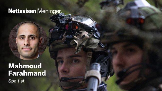 KANNIBALISERING: Uten penger vil Senterpartiets forslag bety at eksisterende avdelinger som Telemark bataljon må kannibaliseres for å få på plass en manøverbataljon i nord, skriver Mahmoud Farahmand. Her er to soldater fra Telemark bataljon avbildet under Øvelse Viking Høst i 2020.