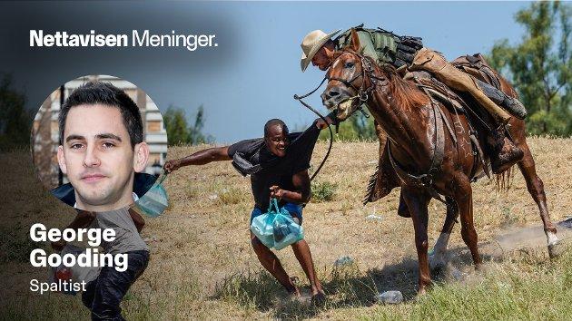GRENSEVAKTER:  I sosiale medier spres det meldinger om bilder av grensevakter på hester som «bruker pisk» mot ulovlige innvandrere. Men det som fremstilles som pisker er egentlig bare reimen til hesten, skriver George Gooding.