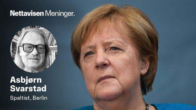 OVER OG UT: Etter 16 år som Tysklands ledestjerne er det nå slutt for prestedatteren Angela Merkel. - Hun omgir seg med et slør av mystikk og utilnærmelighet. Hun holder sine hemmeligheter for seg selv, og også sine innerste tanker.Derfor kan hun også snu på flisa og skifte mening fra den ene dagen til den neste, skriver Asbjørn Svarstad i denne oppsummeringen av hennes politiske liv og virke.